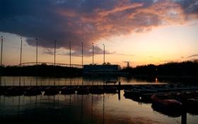 Картинка закат, пейзаж, река, горизонт, небо, фото, вечер