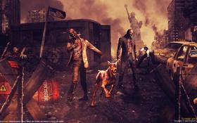 Обои фантастика, апокалипсис, флаг, зомби, статуя, уроды, Zombie Apocalypse