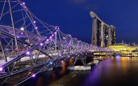 Обои небо, ночь, мост, огни, Азия, Сингапур, отель