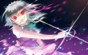 Картинка девушка, оружие, магия, арт, косички, ножи, touhou