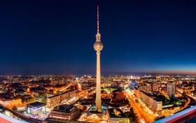 Обои ночь, город, огни, здания, дома, Германия, подсветка