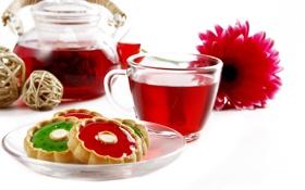 Картинка цветок, чай, печенье, блюдце, заварник