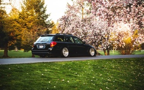 Картинка весна, Subaru, black, субару, stance, Outback