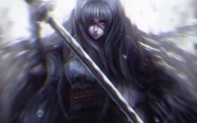 Обои девушка, меч, катана, арт, красные глаза, пвязка