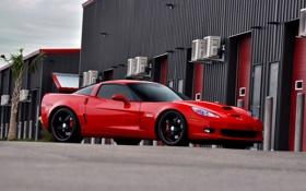 Картинка красный, шевроле, Chevrolet Corvette, корвет
