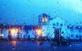Обои небо, стекло, вода, облака, огни, дождь, дома