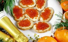 Обои апельсины, Новый Год, шампанское, красная, икра, бутерброды