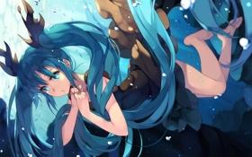 Картинка девушка, пузыри, аниме, арт, vocaloid, hatsune miku, под водой