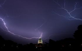 Картинка ночь, молнии, Вашингтон