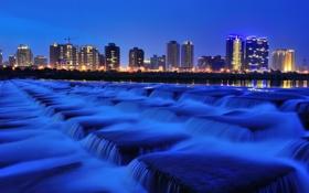 Обои город, река, ночь