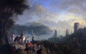 Картинка пейзаж, лодка, башня, картина, бухта, Порт, парус
