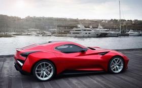 Обои Вода, Красный, Авто, Причал, Яхты, Машина, День