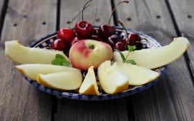 Обои wallpaper, еда, фрукты, яблоко, дыня, widescreen, фон