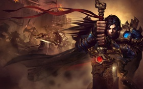 Картинка взгляд, фантастика, меч, доспехи, руки, воин, арт