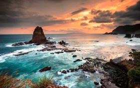 Картинка закат, скалы, Java Sea, Яванское море, East Java, Papuma Beach, Jember