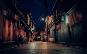 Обои улица, Япония, Киото, магазины, ночью, фонарный столб