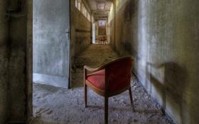 Обои двери, коридор, стулья
