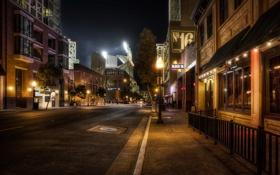 Картинка дорога, асфальт, ночь, город, фото, улица, HDR