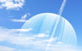 Обои небо, облака, голубое, планета, кольца, сатурн