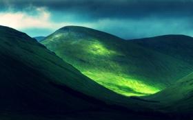 Обои долина, трава, небо, деревья, склон, горы, свет