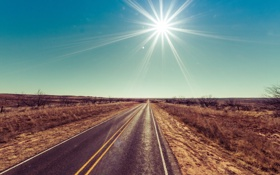Обои дорога, солнце, пустыня, sunshine, road, desert, sun