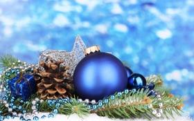 Обои bokeh, синие шары, blue balls, Новый год, ожерелье, боке, new year
