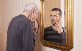 Обои reflection, mirror, Old man, young man