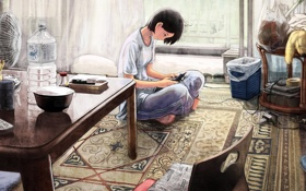 Обои девушка, комната, аниме, телефон, общение