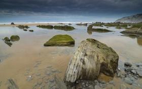 Картинка море, небо, вода, прозрачность, тучи, камни, дно