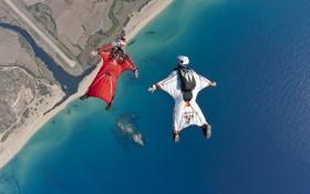 Картинка река, контейнер, парашют, formation, экстремальный спорт, пляж, шлем