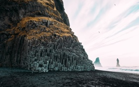 Картинка пляж, скалы, побережье, The Black-Pebble Beach, Reynisfjara