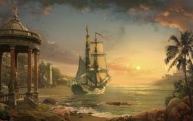 Картинка море, пейзаж, закат, пальмы, корабль, парусник, арт