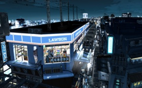 Картинка ночь, город, метро, здания, станция, арт, kurono-kuro