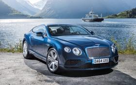 Обои синий, Bentley, Continental, бентли, континенталь, 2015
