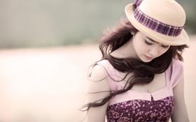 Обои девушка, ресницы, волосы, платье, dress, hair, wind