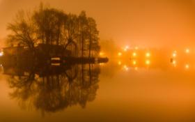 Картинка свет, ночь, огни, туман, озеро, дом, остров