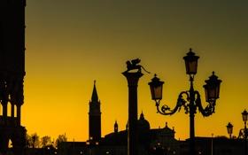 Картинка силуэт, фонари, Италия, Венеция, пьяцетта, колонна Святого Марка, Дворей Дожей