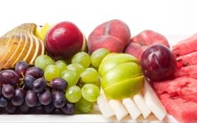 Обои виноград, слива, груша, фрукты, персик, яблоко, дыня