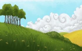Картинка поле, небо, трава, облака, деревья, цветы, природа