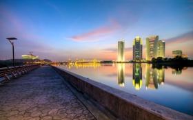 Картинка город, река, ночь, мост