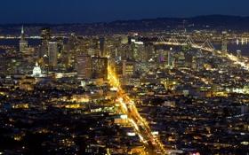 Картинка вода, мост, город, огни, здания, Сан-Франциско, США