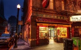 Обои вечер, Улица, китайский квартал, магазинчик