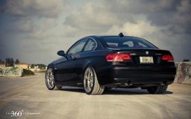 Картинка чёрный, бмв, BMW, black, 335i, задняя часть, 360 three sixty forged