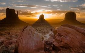 Обои закат, горы, природа, пустыня, долина монументов, великий каньон