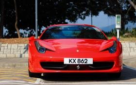 Обои Ferrari, суперкар, red, феррари, 458, передок, Hong Kong