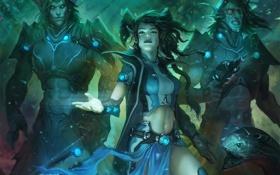 Картинка девушка, оружие, эльф, змея, арт, парни, трое