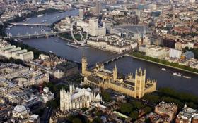 Обои мост, река, лондон, колесо, панорама, темза, парламент