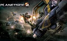 Картинка противостояние, вертолёт, выстрелы, Sony Online Entertainment, PlanetSide 2