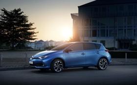 Картинка солнце, закат, город, вечер, Toyota, Hybrid, гибрид