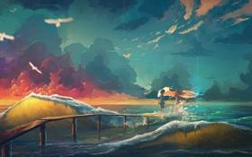 Картинка море, волны, небо, девушка, облака, птицы, мост